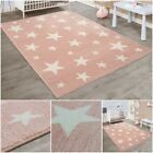 Children's Rugs Girls Room Pink Play Mat with Star Pattern Kids Area Soft Carpet