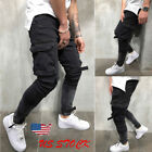 Men's Slim Fit Urban Straight Leg Trousers Casual Pencil Jogger Cargo Pants US