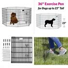 Heavy Duty Dog Exercise Pen Fence Playpen  8 Panels Foldable Crate Kennel Cage