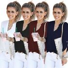 Autumn Women Casual Sexy V Neck Chiffon Solid Color Long Sleeve Pocket Loose Top