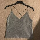 Urban Outiftters Sparkle Silver Crop Top Funky Size Small