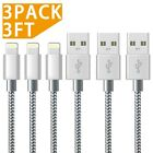 iPhone Charger Cable Xinfene (1M/3FT-3Pack,Grey) Fast Sync Charger USB Cable