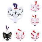 Men Lady Japanese Bell Hand painted Half Face Fox Mask for Halloween Cosplay