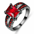 10 kt black gold filled red ruby zircon wedding rings size 6