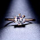 Fashion Round Cut White Sapphire Claw Ring Rose Gold Filled Wedding Band Jewelry
