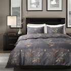 Floral Duvet Cover Set Yellow Birds and Green Plants Printed Pastoral Bedding