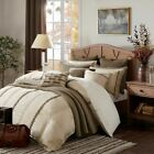 Luxury Shades of Brown Embroidered Textured Comforter Set AND Decorative Pillows