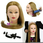 """Hairdressing 26"""" Real Human Hair Training Head Mannequin Practice Styling &Clamp"""