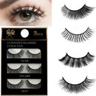 3Pairs False Eyelashes Long Thick Natural Fake Eye Lashes Set Mink Makeup Tool