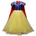Kid Girls Snow White Petticoat Tutu Dress+Cape Party Fancy Dress Cosplay Costume