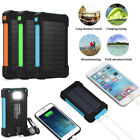 Solar Power Bank 10000mAh Two USB Battery Charger LED Flashlight For Smart Phone