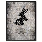Zodiac Rabbit Horoscope Canvas Print, Black Picture Frame Home Decor Wall Art Gi