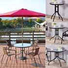 In/Outdoors Garden Patio Tea Table Coffee Tempered Glass Top Tables Metal Frame