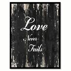 Love never fails Romantic Quote Saying Canvas Print with Picture Frame Home Deco