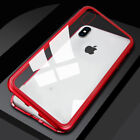 Metal Magnetic Case for iPhone tempered glass thin flip cover on women men funda