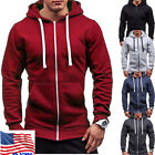 US Fashion Men Thick Zip-Up Hoodie Winter Warm Hooded Jacket Jumper Tops