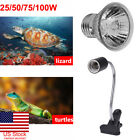 US 25-100W UVA+UVB Heat Emitter Lamp+Holder Bulb Light Heater Pet Reptile Turtle