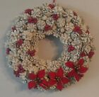 """White/Red Pine Cone Wreath with Berries and Bows 15"""""""