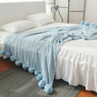 Reversible Knitted Throw Crochet Blanket Cotton Rug Sofa Home Decor High Quality