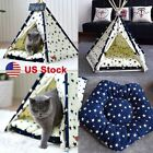 Pet Teepee Dog Cat Bed Portable Pets House Puppy Kitten Kennel Bed Tent + Mat