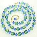 """Estate JOAN RIVERS Gold-tone BLUE GREEN Gradient GLASS Faceted BEAD 35"""" NECKLACE"""