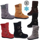Womens Suede Warm Snow Martin Buckle Zip Boots Fur Thicken Mid Calf Ankle Shoes