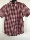 New GEORGE Men's Collar Shirt S Short Sleeve Plaid Woven Red Navy White Check
