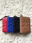 New Tory Burch Bombe T Leather Zip Coin Case Wallet