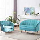 Modern Comfy Living Room Sofa Set Velvet Couch Chair with Cushion 1-2 Seat Blue