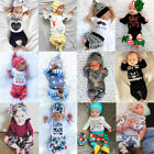 USA Christmas Newborn Baby Boys Girls Floral Romper T-shirt Pants Outfit Clothes