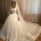 Appliques Lace Wedding Dressees Long Sleeves Ball Gown Vintage Sheer Tulle Plus