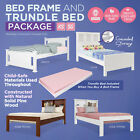 Childrens Solid Pine Timber Kids Wooden Bed Frame Storage & Trundle Bed Package
