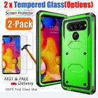 For LG V20/V30 /Plus/V40 ThinQ Protective Hard Phone Case Cover + Tempered Glass