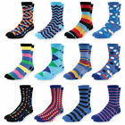 Men's Dress Socks Colorful Funky Patterned Crew Socks For Men 12 Pack