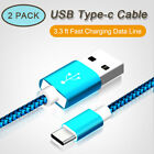 2 Pack USB Type C Cable Micro USB Cable 3.3 ft Fast Charging Data Line 1m Nylon