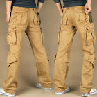 Workwear Men's Cotton Pockets Overalls Pants Loose Casual Trousers Hiking Pants