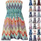 Plus Size Ladies Womens Floral Ruched Sleeveless Boobtube Bandeau Sheering Top