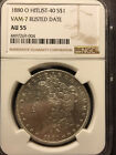 1880 O AU 55 VAM-7 Rusted Date Hitlist 40 Morgn Silver Dollar