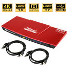 4 Port 4K HDMI KVM Switches HDMI with Audio HDR USB 2.0 Auto-Scan IR Hot Key