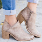 Damen Blockabsatz Ankle Boots Stiefeletten Stiefel Pumps Wedge Casual Schuhe DE