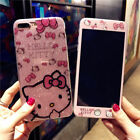 Bling Fr iPhone Xs Max X 8 Glitter Cute Hello Kitty Case KT Tempered Glass Cover