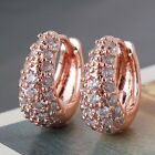 Exquisite 18K Rose Gold Plated Round Crystal Hinged Huggie Hoop Earrings Jewelry image