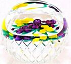 Delicate RAY BANFORD Glass Art IRIS BOUQUET BASKET Gingham Cut PAPERWEIGHT