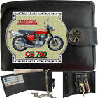 HONDA Motorcycle Bike Gift Mens Wallet Real Leather RFID Chain Keyring TIN BOX