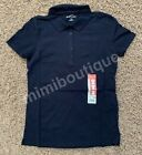 Eddie Bauer Women's Polo Shirts 5 Buttons Down Short Sleeve Collar Top Navy $30