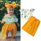 3Pcs Kids Baby Girl Lace Off Shoulder Top T-shirt Shorts Skirt Clothes Outfit US