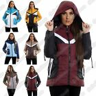Ladies Hooded Contrast Patch Long Sleeve Padded Jacket Zip Up Thick Winter Coat