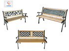 Wooden 3 Seater Garden Outdoor Park Bench With Cast Iron Legs & In 3 Designs