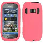 AMZER Soft Silicone Skin Jelly Case Back Cover Screen Protector For Nokia C7 701