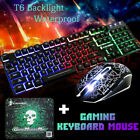 T6 Rainbow Backlight Usb Ergonomic Gaming Keyboard and Mouse Set for PC Latop